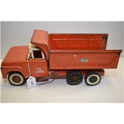 Vintage pressed steel Lil' Beaver Department of Highways tandem dump truck, 16  in length