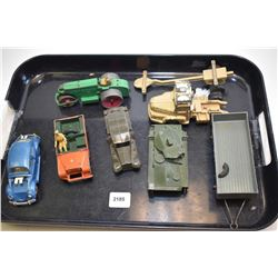 Selection of vintage metal Dinky toys in varying condition including Land Rover, Beetle, Army vehicl