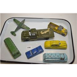 Selection of cast metal toys, mostly Canadian made in London, Ontario including airplane, bus, fuel