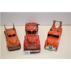 Selection of vintage cast metal toys including British made Nettoy wind-up Fire truck with brake and