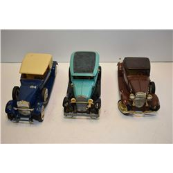 "Three vintage Hubley die cast cars including Ford model A, Chevy coupe and a Rolls Royce 9"" in lengt"