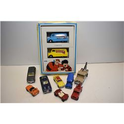 Selection of vintage Corgies including boxed Dandy and Beano trucks, Corvette, two Land Rover tow tr