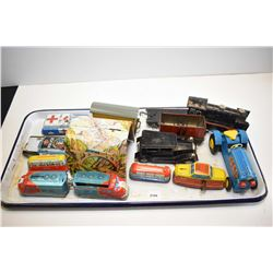 Selection of vintage pressed tin toys including German made train, Japanese made tin cars, Japanese