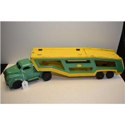 Vintage pressed steel Lincoln truck and car hauler with drop down ramp 28  in length
