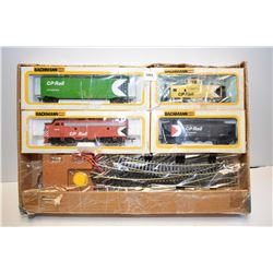 Boxed Bachmann HO scale train set including electric engine, cars, track and controller
