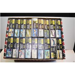 Box of eighteen 1:72 scale fighter plane models including P-51 Mustand, Spitfires, Messerschmitts, S