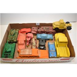 Selection of vintage rubber toys including cars, trucks, tanks, fire engines, motorcycles etc.