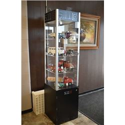 "Four shelf 5-11 Tactical display cabinet with under storage, 72"" high and 17"" wide and deep"