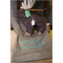 "F.A.O. Schwarz Green Ribbon plush moose 12"" in height with original embroidered canvas bag"