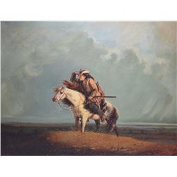 "Gilt framed oil on canvas painting of a cowboy scout signed by artist A. Miller 1851, 19 1/2"" X 23 1"