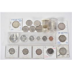Selection of Canadian collector coins including 1967 decimal set, four 50 cent pieces including two