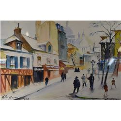 Two framed original pictures including a watercolour titled  Montmarte  signed by artist Fernand Gui