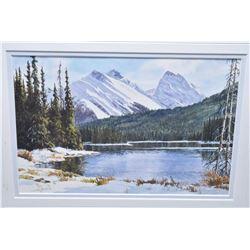 """Framed original watercolour painting titled on verso """"September Snow- Kananaskis"""" 7"""" X 8"""""""