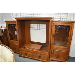 Semi contemporary Mission style three piece entertainment unit with leaded glass doors