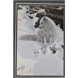 Framed limited edition print titled  Blue Shadows-Arctic Fox  pencil signed by artist Ron Parker, 40