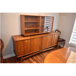 Mid century modern four door sideboard with inside drawers on right side and display hutch with glas