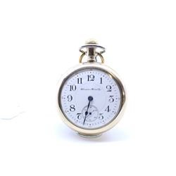 Hampden size 18, 17 jewel pocket watch. Grade 64, model 3. Serial # 1756862 dates to 1902. Nickel sp