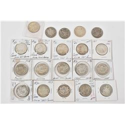Twenty Canadian silver half dollars ranging from 1919-1964 and a 1967