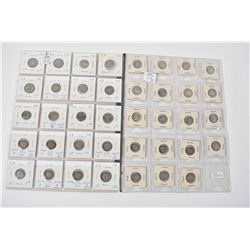 Sheet containing nineteen early Canadian small silver 5 cent coins 1888-1920 and a sheet of twenty B