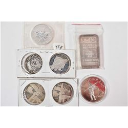 Seven sterling silver pieces including JM Assayers 5 troy ounce bar serial no. 001657, mint sealed 1