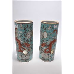 Pair of antique porcelain Oriental cylinder vases with hand painted dragons and chrysanthemums and p
