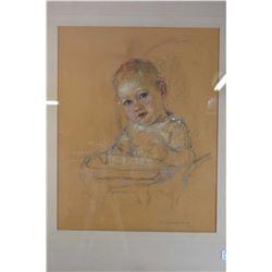 Framed original pastel on paper portrait of a small child signed by artist Nicholas de Grandmaison,