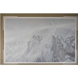 """Framed limited edition print titled """" Arctic Cliff-White Wolves"""" pencil signed by artist Robert Bate"""
