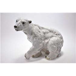 """Large hand painted Royal Dux polar bear 16"""" in height"""