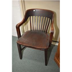 Vintage open arm office chair made by The B. L. Marble Chair Co, Redford, Ohio