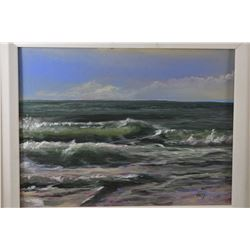 """Gilt framed original acrylic on board seascape titled """"Sun Wave"""" signed by artist and marked on vers"""