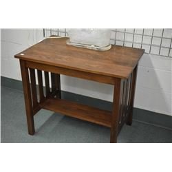 Small mission style library table with under shelf