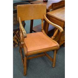 Vintage maple open arm side chair