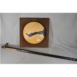 """Leather wall art button, marked on verso """"Sunset Series"""" and signed by artist Paul S. Williams, 1980"""
