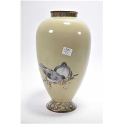 """Quality antique cloisonn' vase featuring birds, butterfly and foliage 12"""" in height"""