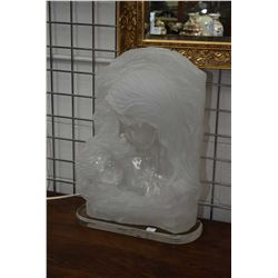 Crystalline Collection Italian made acrylic mother and child motif table lamp by artist W. Anina, 21