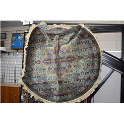 "Contemporary Belgium made round fringed scatter rug 50"" in diameter"