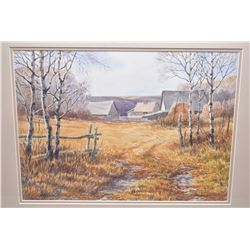 """Framed original watercolour painting titled on verso """"Homestead Buildings"""" signed by artist Isabelle"""