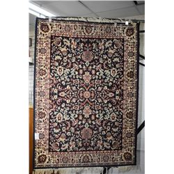 """Vintage wool area rug with overall geometric pattern in tone of blues, taupe and reds, 47"""" X 66"""""""