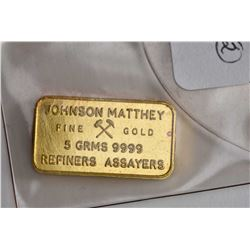 Johnson Matthew 5 gram .999 pure gold bar and a 1910 American Indian head 8ct gold mini coin