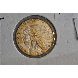 "1912 American 2 1/2 dollar ""Indian head"" gold coin"
