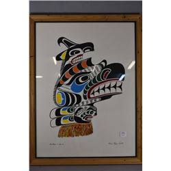 """Framed print """" Sea Raven Gwa-wis"""" signed by artist Chief Henry Speck"""