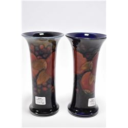 """Pair of vintage Moorcroft pomegranate vases 7 1/4"""" in height"""