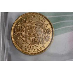 Canadian 1912, $5 gold coin with George V and obverse coat of arms