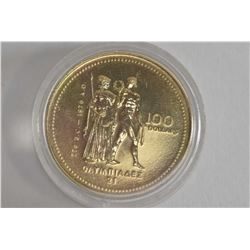 """Canadian $100 Olympic """"776 B.C - 1976 A-D"""" 14kt gold coin"""