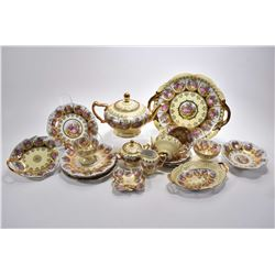 Selection of West German china love story including four cups and saucers, teapot, cream, lidded sug