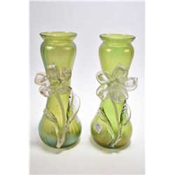 Pair of antique iridescent frou frou glass vases with applied colourless glass flowers designed in B