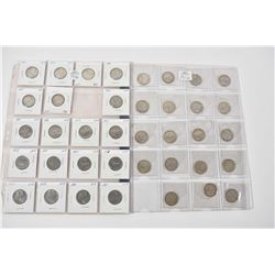 Two sheets of Canadian quarters including 1968 and prior and a sheet containing 1960, 1962, 1963, 10