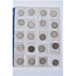 Sheet of twenty Canadian silver half dollars including 1943- 1965