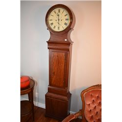 Antique mahogany cased grandfather clock with two train weight driven chiming movement, face labelle