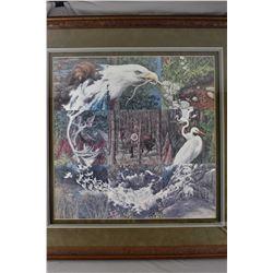 """Framed limited edition print titled """"Sacred Circle"""" pencil signed by artist Bev Doolittle, 34641/401"""